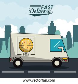 poster city landscape with fast delivery in pizza truck