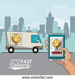 poster city landscape with fast delivery in pizza truck and closeup smartphone app