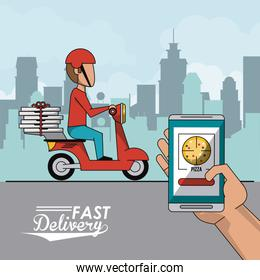 poster city landscape with fast pizza delivery man in red scooter and closeup smartphone app