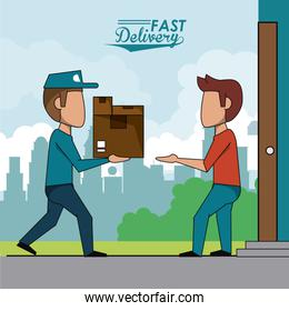poster scene city landscape of fast delivery man with packages to customer