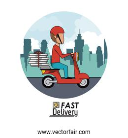circular frame poster city landscape with fast pizza delivery man in red scooter