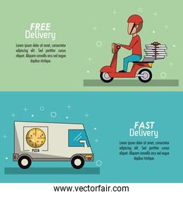 color poster banner scene fast delivery in pizza truckposter and delivery man in red scooter