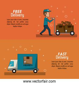 color poster banner scene fast delivery man with hand truck packages and truck
