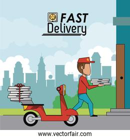 poster scene city landscape of man in red scooter delivering pizza to home