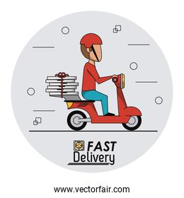 circular frame background with fast pizza delivery man in red scooter