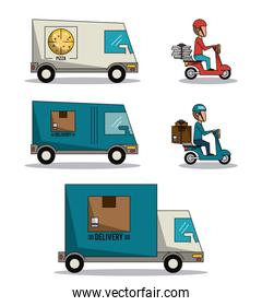 circular frame background with set fast delivery truck of packages and pizza