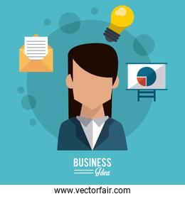 colorful poster of business idea with half body faceless business woman