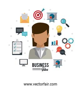 colorful poster of businesswoman with icons set business idea