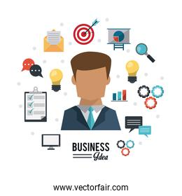 colorful poster of businessman with icons set business idea