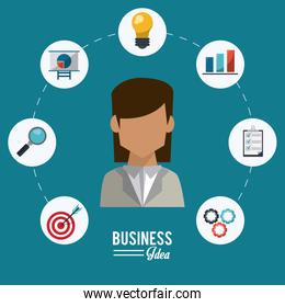 colorful poster of businesswoman with icons set steps business idea