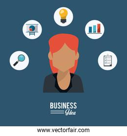 colorful poster of half body business woman with icons set of business idea