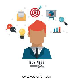 colorful poster with half body and red hair businessman and several business icons