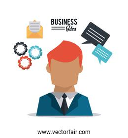colorful poster with half body and red hair businessman and business icons