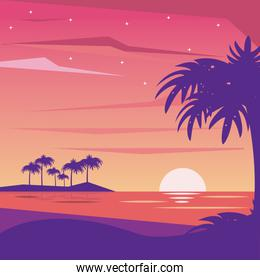 colorful background landscape of nightly beach