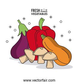 colorful poster fresh vegetables eggplant peppers zucchini and mushrooms