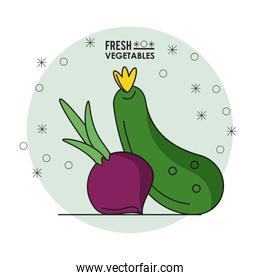 colorful poster of fresh vegetables with beet and cucumber