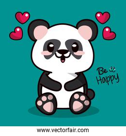 color background with kawaii animal bear panda and floating hearts