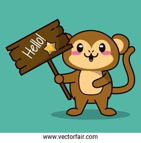 green color background with cute kawaii animal monkey standing with wooden sign hello and star