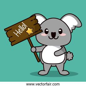 green color background with cute kawaii animal koala standing with wooden sign hello and star