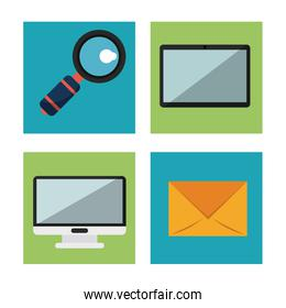 white background with desktop computer and envelope and magnifying glass and tablet in square frames