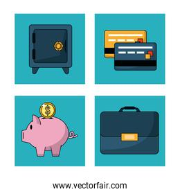 white background with safe box and credit cards and money box and executive briefcase in square frames