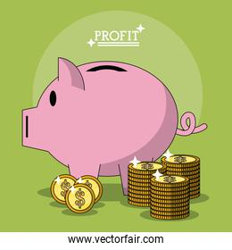 colorful poster with profit money box shape of pig and coins stacked