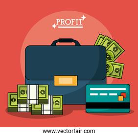 colorful poster with profit money briefcase and credit card