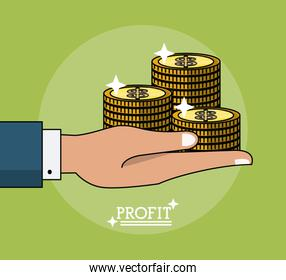 colorful poster of profit with hand holding coins