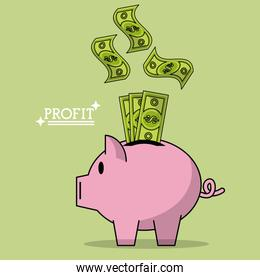 colorful poster of profit with money bills falling in piggy bank