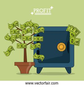 colorful poster with safe box and plant with leaves in shape of bills