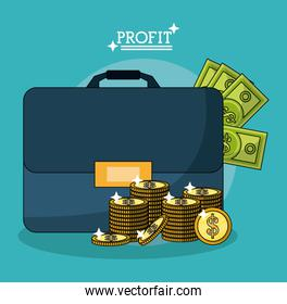 colorful poster with profit money briefcase and stacked coins