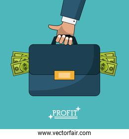 colorful poster of profit man briefcase with money