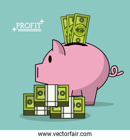 colorful poster with profit money box shape of pig and money bills stacked