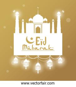 Eid Mubarak greeting with mosque and hand drawn calligraphy with glow lamps
