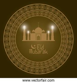 geometric round arabic frame with Eid Mubarak mosque and hand drawn calligraphy with gloss