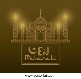 Eid Mubarak greeting with mosque abstract and hand drawn calligraphy with glow lamps