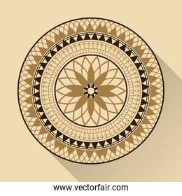 color background geometric round arabic ornament with shadow