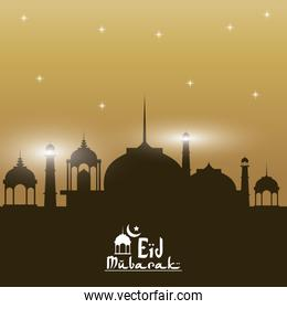sunset color background silhouette Eid Mubarak with mosque and hand drawn calligraphy logo