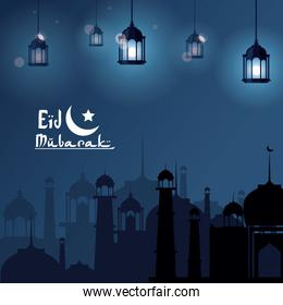 Eid Mubarak greeting with mosque and with beautiful illuminated arabic lamps with hand drawn calligraphy