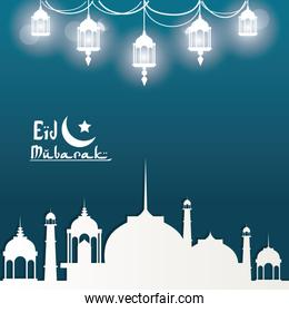 Eid Mubarak greeting with mosque and with beautiful illuminated arabic gloss lamps with hand drawn calligraphy