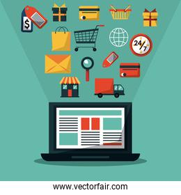 colorful background with laptop computer and common online shopping icons
