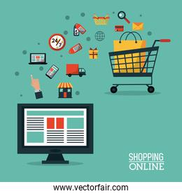 colorful poster shopping online with desktop computer and shopping cart