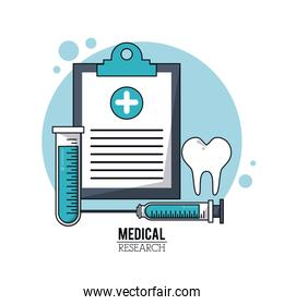 color poster medical research with icons medical clipboard and syringe and test tube