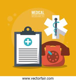 color poster medical research with medical clipboard and star of life and phone