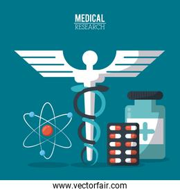 color poster medical research with caduceus symbol and pills and atom icon