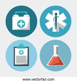 color background with round frames with medical research elements