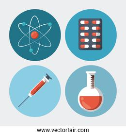 color background with round frames with medical elements atom pills syringe test tube