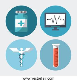 color background with round frames with medical elements pills test tube caduceus symbol and pulse monitor