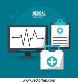 color poster medical research with pulse monitor and medical clipboard and first aid kit