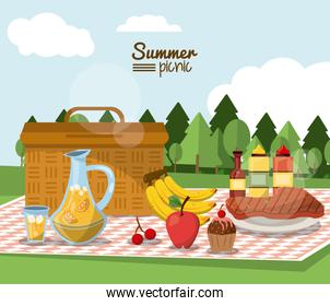 colorful poster of summer picnic with outdoor landscape and picnic basket in tablecloth with juice jar and fruits and sauces and meat